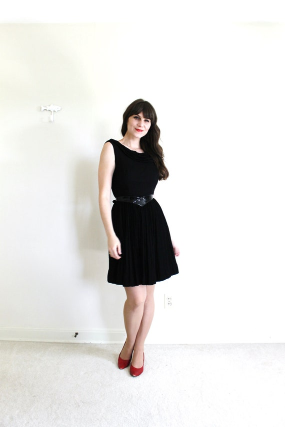 1950s Dress / 50s Dress / 50s 60s Black Chiffon C… - image 4
