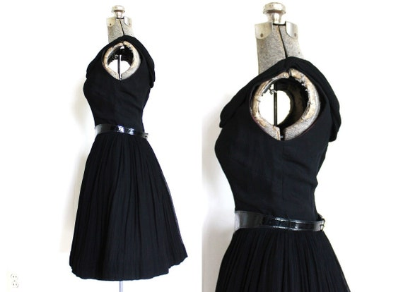 1950s Dress / 50s Dress / 50s 60s Black Chiffon C… - image 5
