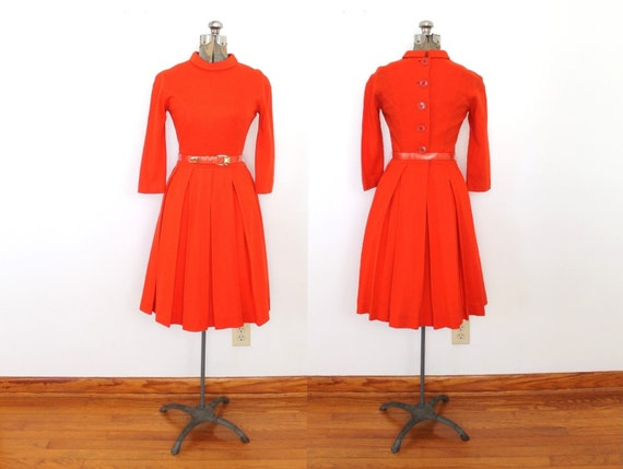60s 50s Dress / 1950s 1960s Red Wool Button Back D