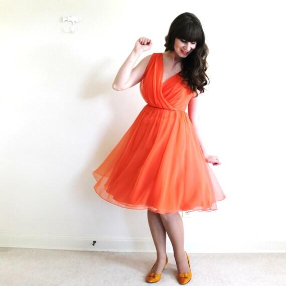 50s Dress / 1950s 1960s Dress / Coral Chiffon Par… - image 4