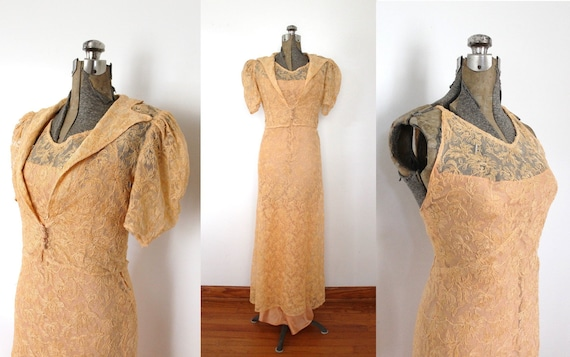 1930s Peach Tambour Lace Gown / 1930s 30s Peach Pi
