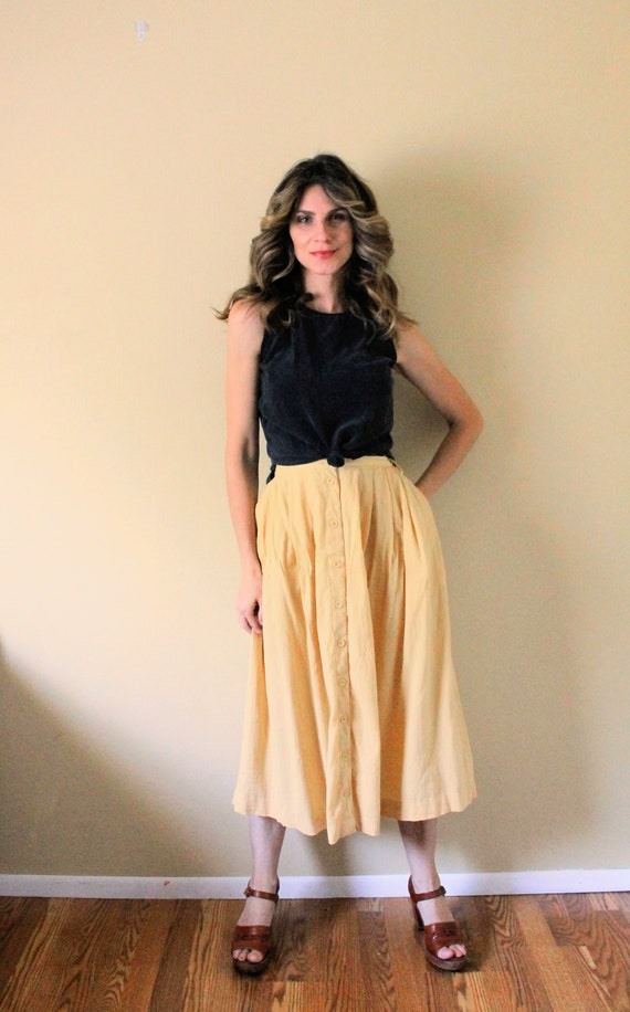 Vintage Button Up Gauze Skirt / 1990s Skirt / 90s… - image 5
