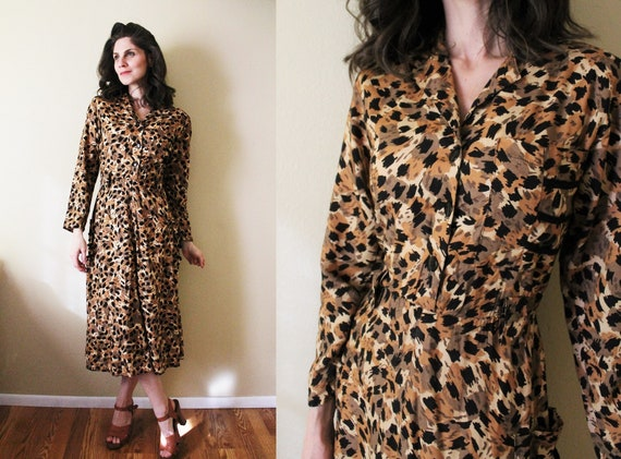 Vintage Leopard Print Dress / 1980s Dress / 1980s