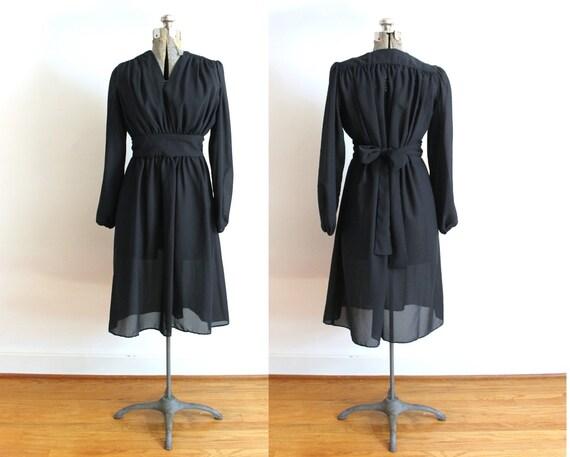 1970s Black Dress / 70s Boho Sheer Black Dress