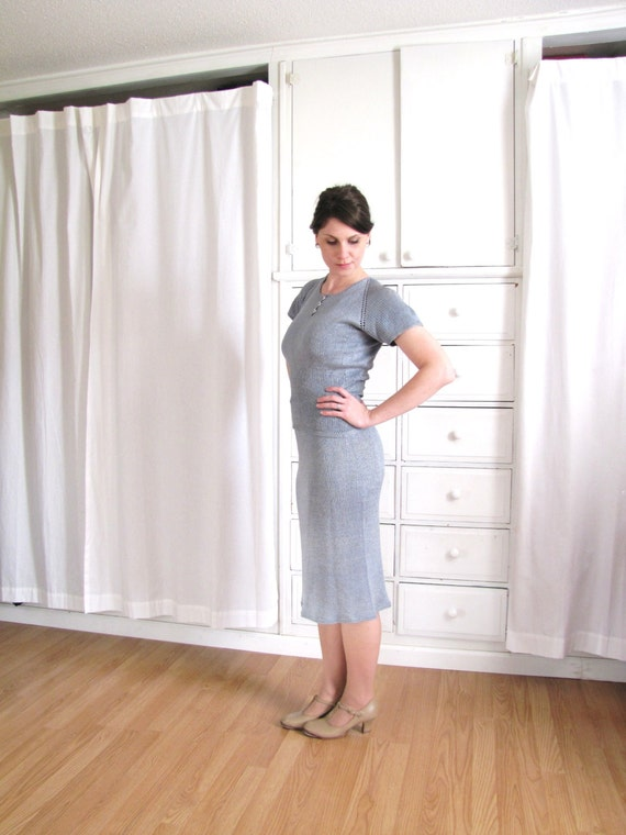 1940s Dress / 40s Knit Dress / Dusty Blue Dress - image 4