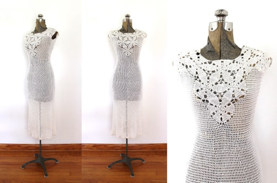 1940s Crochet Dress / 40s Dress / 1940s Ivory Whit
