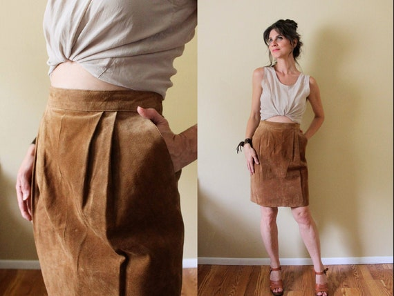 Vintage Suede Skirt / 1990s Suede Skirt / 90s Brow