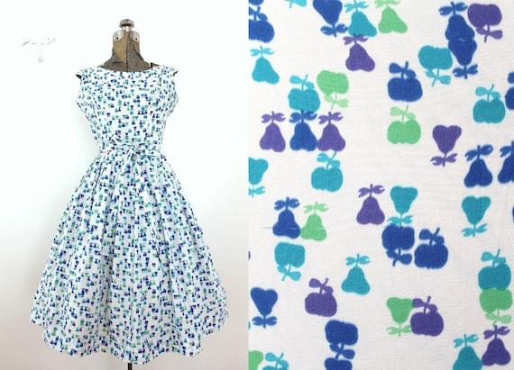 50s Dress / 1950s Dress / 1950s Novelty Print Frui