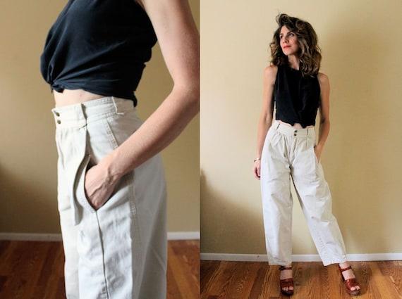 Vintage 80s Khaki Pants / 1980s Wide Leg Pants / 1