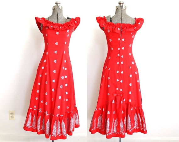 1950s Dress / 50s Hawaiian Dress / Red Hawaiian Wi