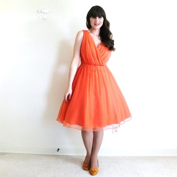 50s Dress / 1950s 1960s Dress / Coral Chiffon Par… - image 2