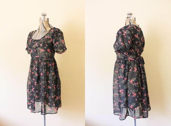 90s Babydoll Dress / 1990s Dress / 1990s Dark Flor