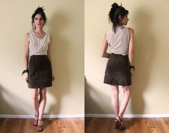 90s Brown Suede Skirt / 1990s Brown High Waisted H