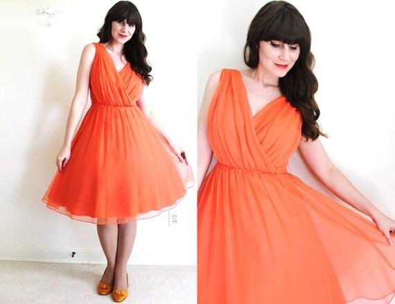 50s Dress / 1950s 1960s Dress / Coral Chiffon Par… - image 1