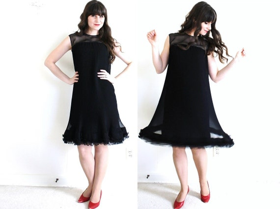 60s Dress / 1960s Black Cocktail Dress / Black 60s