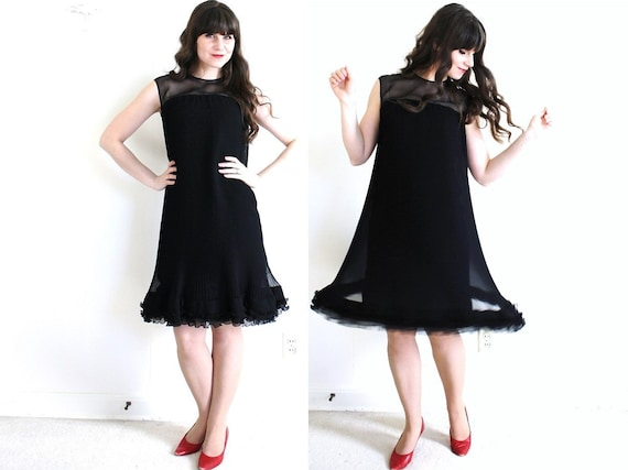 60s Dress / 1960s Black Cocktail Dress / Black 60… - image 1