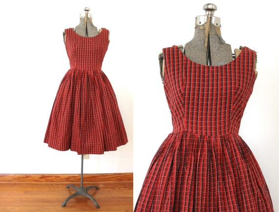 1950s Dress / 50s Dress / 1950s Red Plaid Full Ski