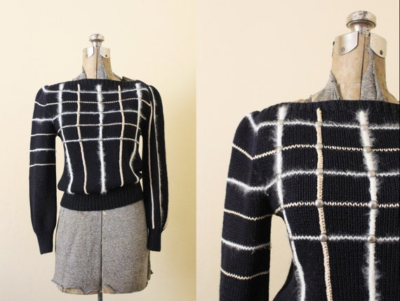 1980s Sweater / 80s Black Geometric Sweater / 1980