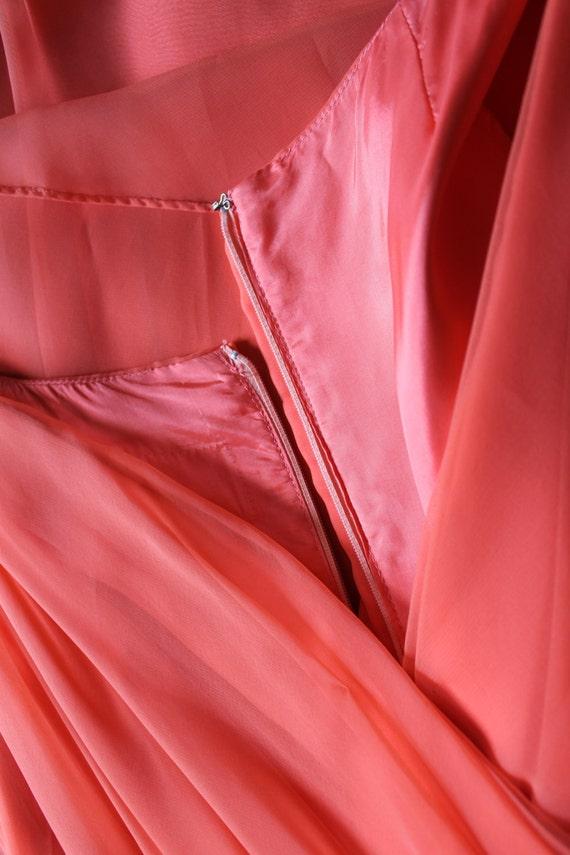 50s Dress / 1950s 1960s Dress / Coral Chiffon Par… - image 5