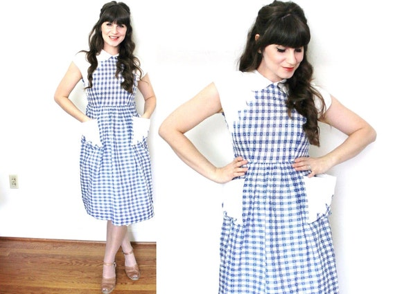 1940s Dress / 40s Day Dress / 1940s Blue and White