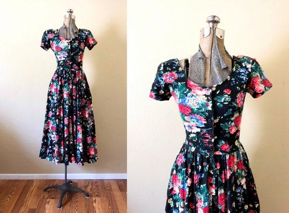 1990s Dark Floral Midi Dress / 90s Dress / 1990s D