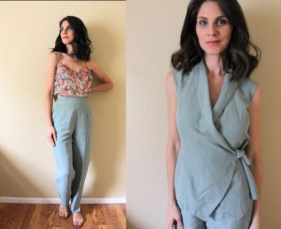 Vintage 1990s Linen Suit / 90s Linen Two Piece Tro