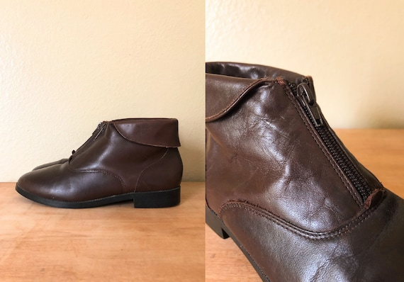 90s Ankle Boots / 1990s Brown Leather Zip-Up Ankle