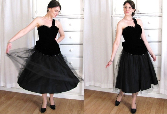 50s Dress / One Shoulder Dress / 1950s Black Velve