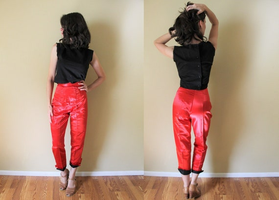 1950s Satin Capri Pants / 1950s Hollywood High Wai