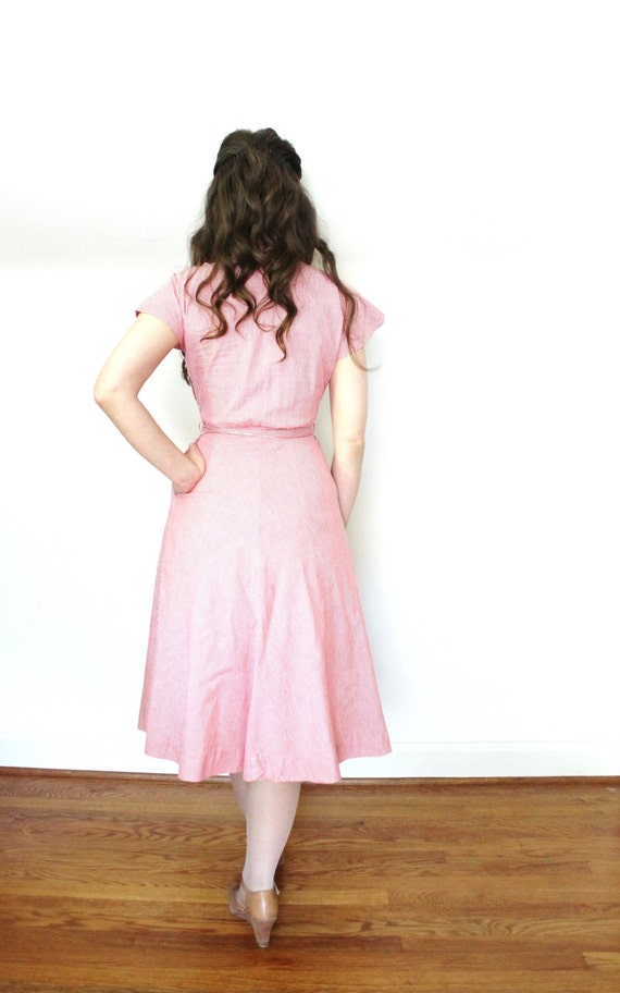 1940s Dress / 40s Dress / 1940s Red Cotton Day Dr… - image 4