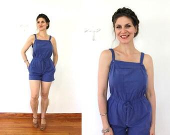 1970s Romper / 70s 80s Romper / 1970s 1980s Cobalt Blue Cotton Shorts Romper Playsuit