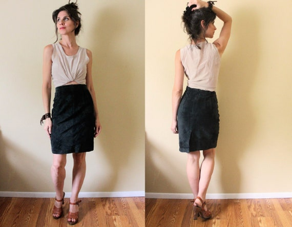 80s Suede Pencil Skirt / 1990s 1980s Suede Skirt /