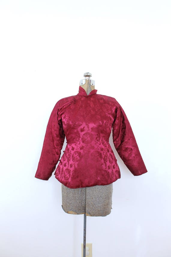 1940s Brocade Jacket / 1940s 40s Cranberry Red As… - image 2