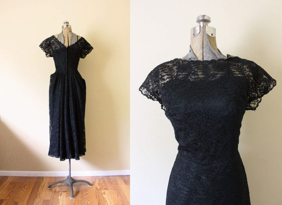 1950s Illusion Neckline Dress / 1950s Black Dress