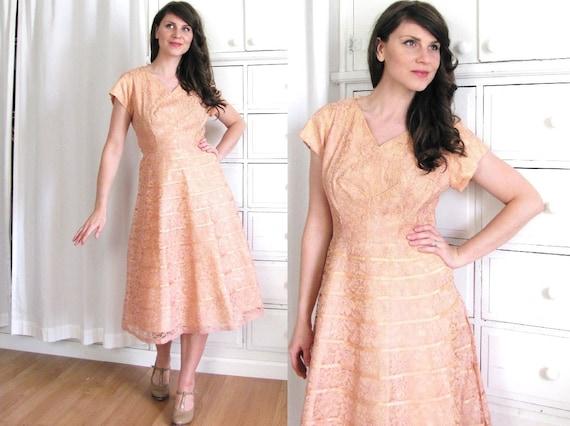 50s Dress / 50s Lace Dress / Blush Pink Dress