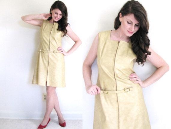 60s Faux Leather Dress / 60 gogo Dress / 1960s Ple