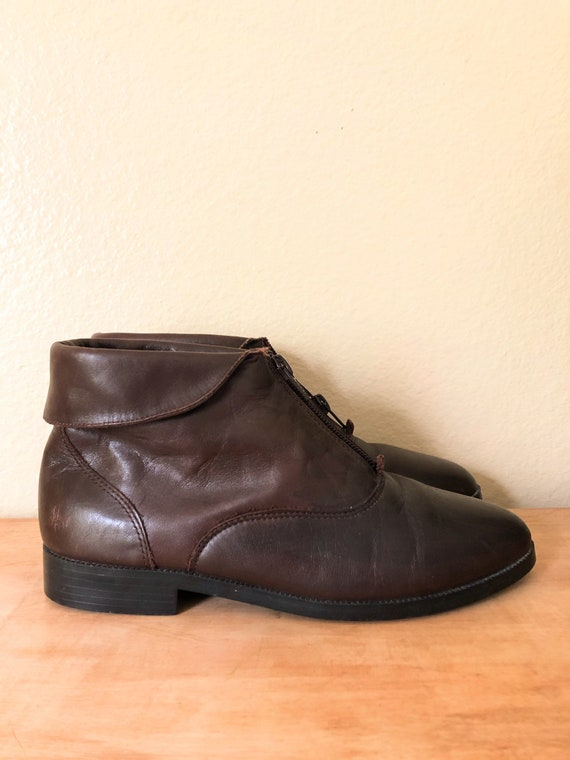 90s Ankle Boots / 1990s Brown Leather Zip-Up Ankl… - image 8