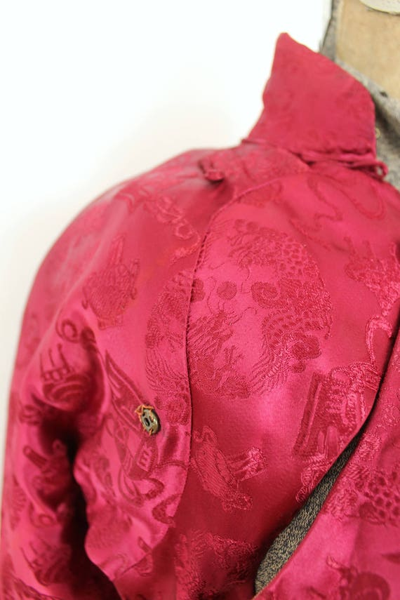 1940s Brocade Jacket / 1940s 40s Cranberry Red As… - image 6