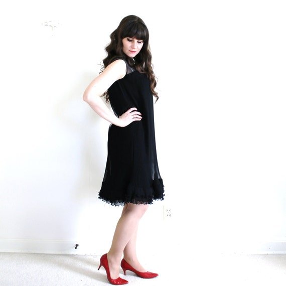 60s Dress / 1960s Black Cocktail Dress / Black 60… - image 3