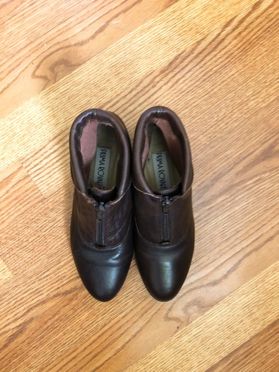 90s Ankle Boots / 1990s Brown Leather Zip-Up Ankl… - image 6