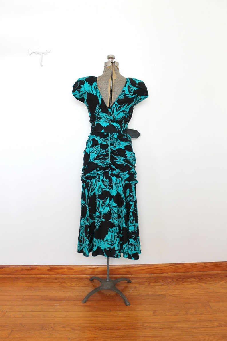 80s Does 1940s Dress  1980s 40s Style Turquoise and Black Rayon Floral Dress
