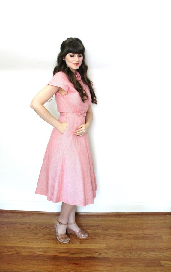 1940s Dress / 40s Dress / 1940s Red Cotton Day Dr… - image 3