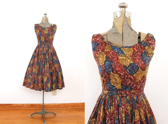 1950s Dress / 50s Dress / 1950s Blue Pea Green and