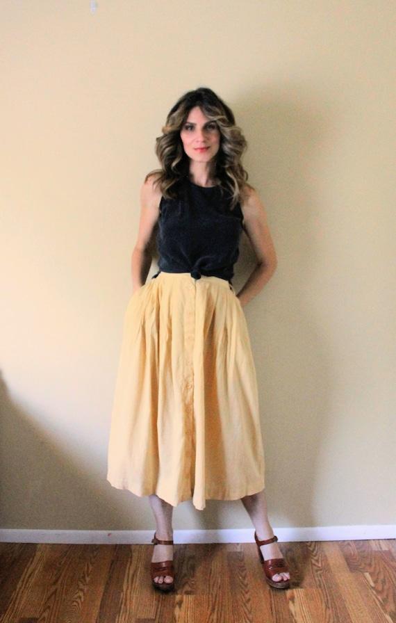 Vintage Button Up Gauze Skirt / 1990s Skirt / 90s… - image 2