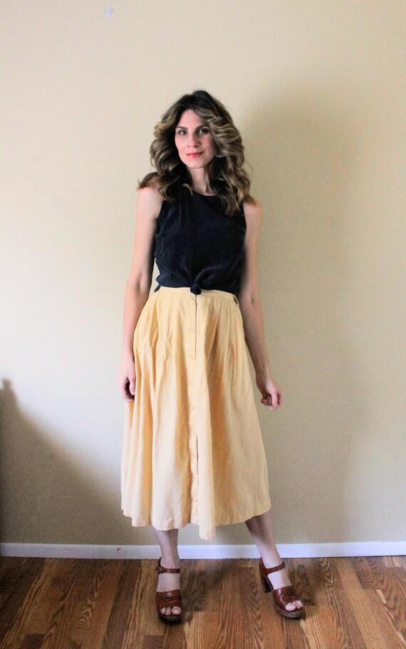 Vintage Button Up Gauze Skirt / 1990s Skirt / 90s… - image 4