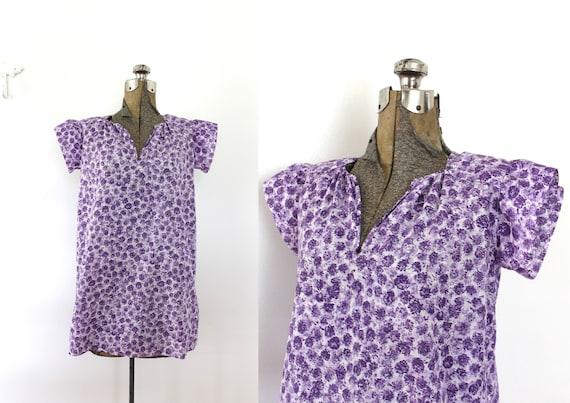 1930s Blouse / 30s Lavender Purple Clover Floral P