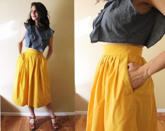 Vintage Mustard Skirt / Mustard Yellow High Waiste