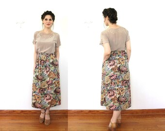 Tapestry Skirt / 1980s High Waisted Floral Tapestry Print Carpet Midi Skirt
