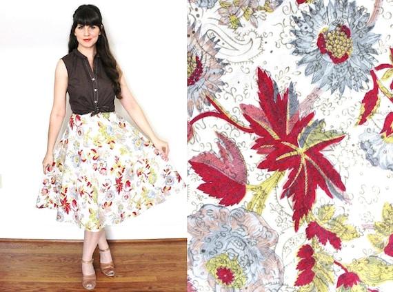 1950s Skirt / Floral 50s Full Skirt