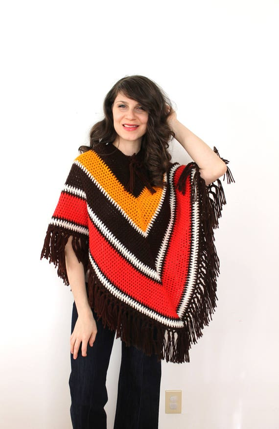 1970s Knit Poncho / 70s Poncho / 1970s Crocheted B